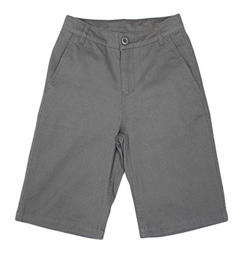 Bienzoe Jungen Baumwolle Schuluniformen flache Front Köper Bermuda Kurze Hose grau Größe 14