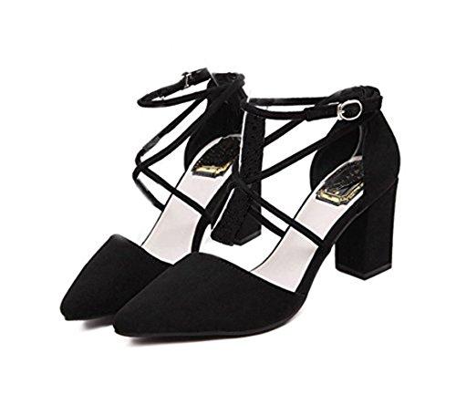 MILEEO Escarpin Femme Bloc Pointe Chassure Pointue Fille Lacet Elégant Sandale Cheville Noir