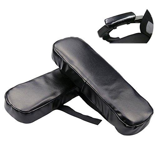 NACHEN Stuhl Armlehne Abdeckungen PU-Leder Arbeitsplatz Schreibtisch Arm Kissen Für Ellenbogen Erleichterung Kissen 1 Paar Armlehnen Pad,Black,250X75x35mm - Leder Stuhl-abdeckung