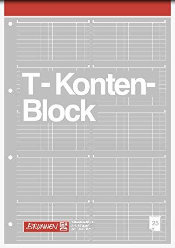 3er Pack Brunnen 1042025 T-Konten-Block (A4, 25 Blatt, 10 T-Konten je Seite, gelocht, 80g/m²) (3)
