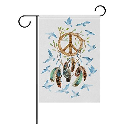 lor Dream Catcher mit Vögeln Federn und Peace Zeichen Polyester HAUS/Garten Flagge Banner 12x 18/71,1x 101,6cm für Hochzeit Party alle Wetter, Polyester, multi, 12x18 (Hochzeit-yard-zeichen)