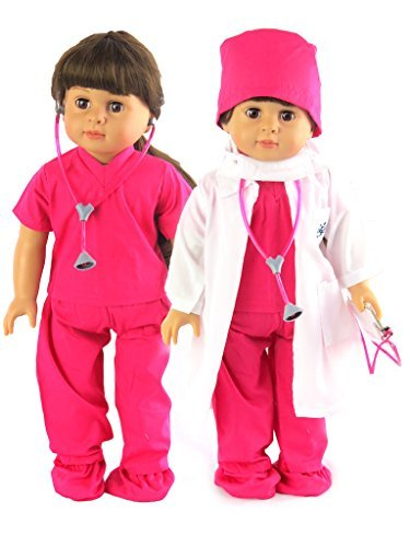 Hot Pink Doctor Or Nurse 7Pc Set | 18Inch Doll Clothes Damen | Complete with White Doll Lab Coat, Face Mask, Medical Shoe Covers, Cap, Stethoskop, and Scrubs (Face Lab Mask)
