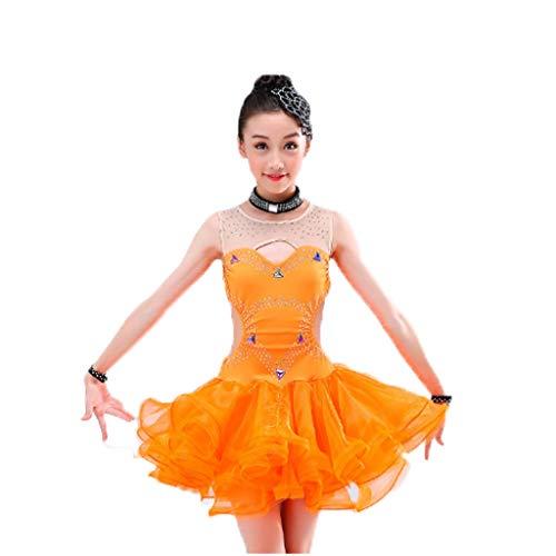 Wettbewerb Der Kostüm Ballett - HUO FEI NIAO Kinderkostüme Latin Dance Rock Wettbewerb Dance Jazz Performance (Color : Orange, Size : 170)