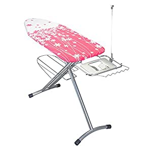Metaltex Avior Premium Ironing Board with Solid Iron Rest, 125 x 50 cm, Pink