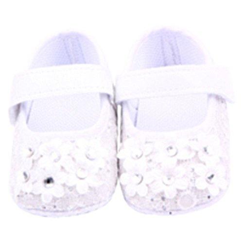 QHGstore Neugeborenes Baby Prewalker Antislip Magic Tape Flats Sneaker Blumen Krippe Schuhe weiß 13cm Weiß