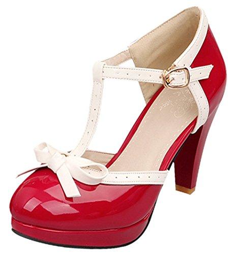 Bevalsa Damen T Spangen Lack Pumps Blockabsatz High Heels Plateau mit Schnalle und Schleife Süß 8cm Absatz Schuhe