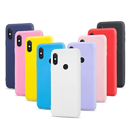 9X Funda Xiaomi Redmi S2, Trasero Color Sólido Cáscara Flexible Goma Suave Delgado Gel TPU Silicona Protección Case Mate Antigolpes Anti-rasguño Caso - 9 Colores
