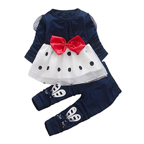 Kleinkinder Tragen Kostüme Mantel Blauen (Bekleidung Longra Baby Kinder Mädchen Outfits Kleidung mit Bowknot langes Hülsen Punkt Prinzessin Kleid + Kaninchen Hosen Mädchen Herbst Kleidung(1-4Jahre) (90CM 1Jahre,)