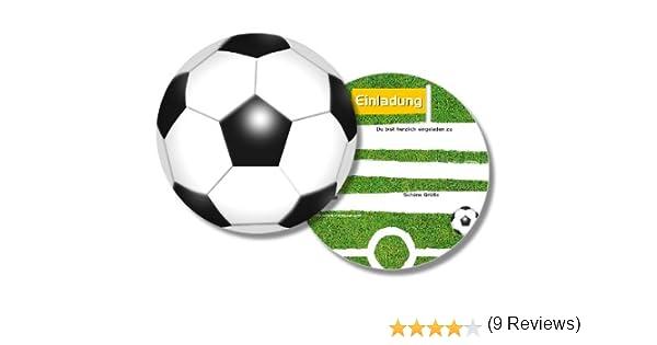 6 Runde Einladungskarten * Fussball * Für Kindergeburtstag Von DH Konzept  // FUSSE020 /