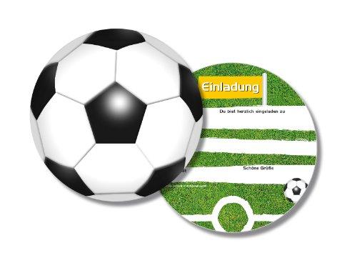 6 runde Einladungskarten * Fussball * für Kindergeburtstag von DH-Konzept // FUSSE020 // rund Kinder Geburtstag Party Jungen Einladung Karte Kinder Geburtstag Party Soccer