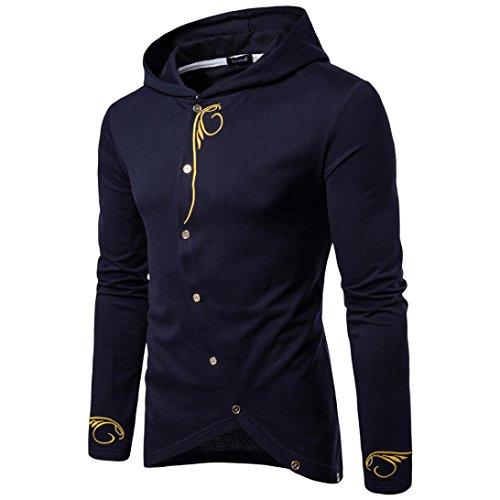 Kapuzenpullover Herren Outwear Sportoberteile Männer Langarm Mantel Solid Color Jacke GreatestPAK,Marine,L (Shark Reef)
