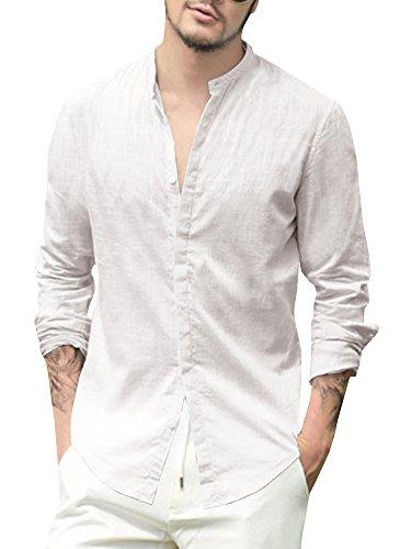Karlywindow Herren Langarm Casual Buttons Down Shirts Baumwolle Solid Gentle Cocktail Shirt - Weiß - X-Groß -
