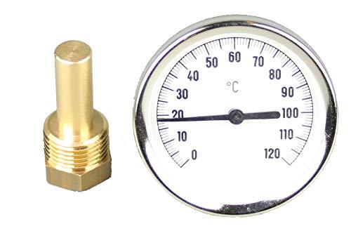 Tauchthermometer, Bimetallthermometer, Messinghülse, 0-120°C -