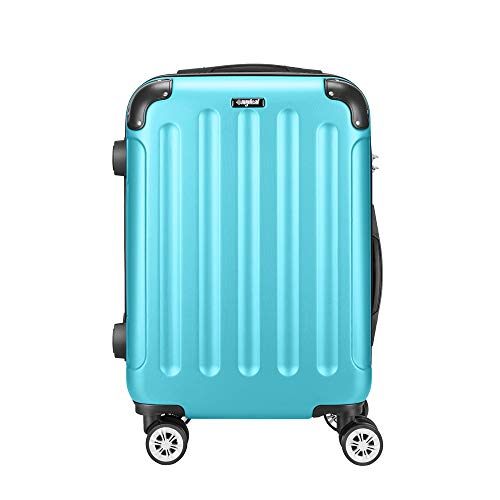 AMASAVA Maleta de Cabina,Rígida Equipaje de Mano,Maleta de Viaje,55cm,40 litros,Candado TSA,4 Ruedas multidireccional,Azul Claro