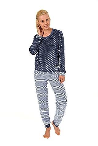 Damen Frottee Pyjama lang mit Bündchen - auch in Übergrössen bis 60/62 - 59365/66, Größe:44/46;Farbe:Tupfen jeans