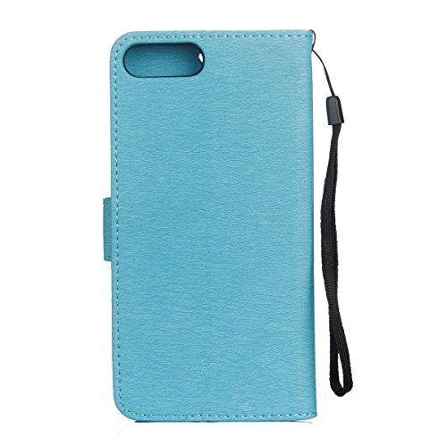Custodia per iPhone 7 Plus/iPhone 8 Plus (5.5), EUWLY Book Style PU Leather Custodia Case Cover Per iPhone 7 Plus/iPhone 8 Plus (5.5) Portafoglio Custodia Goffratura Ragazza di Farfalla Shell Cover  Blu