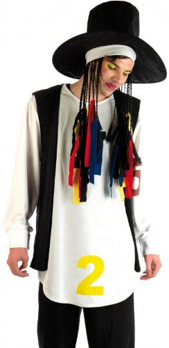 Adult Boy George Culture Club 80s Pop Star Costume with Hat and Wig