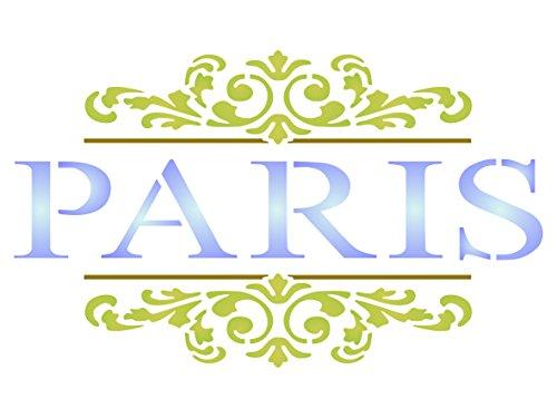 Paris Scroll Schablone-wiederverwendbar Französischer Vintage Motto Wort Wand Schablone-Vorlage, auf Papier Projekte Scrapbook Tagebuch Wände Böden Stoff Möbel Glas Holz etc, L -