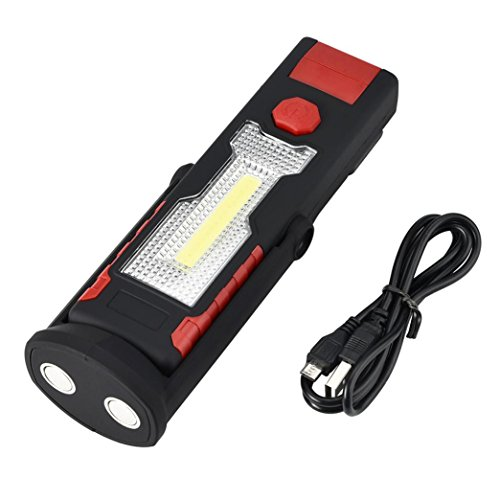 Y56USB wiederaufladbare 3W COB LED-Arbeitsleuchte Magnet Taschenlampe mit Haken Falten Taschenlampe Pocket Light Multifunktions Tragbare Taschenlampe Werkzeug mit 2Modi, 18x 5x 3cm (keine Batterie) (rot) (3 5-pocket X)