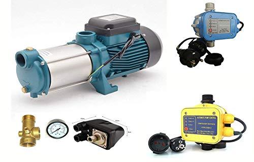 Kreiselpumpe MHI2200 INOX - Leistung: 2200W - Spannung: 230 V / 50 Hz 10800 L/h - 180l/min. Max. Druck 6 bar und verschiedene Steuerungen od. Druckschalter zur Auswahl. (Druckschalter + Manometer)