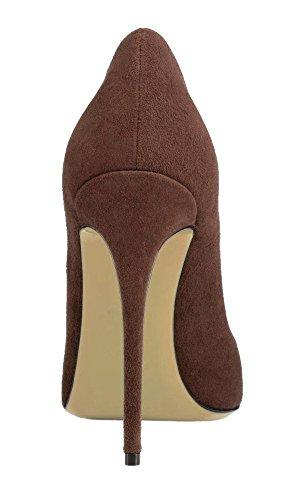 uBeauty - Escarpins Femmes - Chaussures Stilettos - Talon Aiguille - Grande Taille - Chaussures Femme Talons marron suède