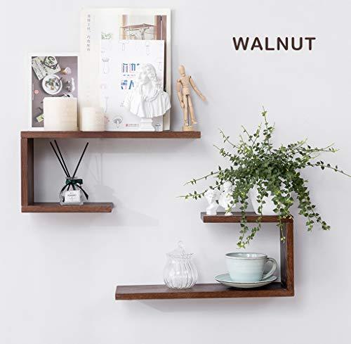 1 STÜCK Wandregale aus Holz, U-förmig, schwebende Regale zum Aufhängen, Schwarze Walnuss Bücherregal, Wand-Dekoration, 0.8