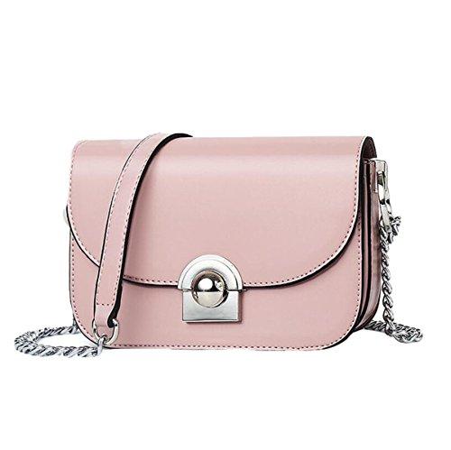 Frauen Schultertasche Schultertasche Kreuz-Paket Kette Schloss Tasche Einfache Wilde Mode Freizeit Pink