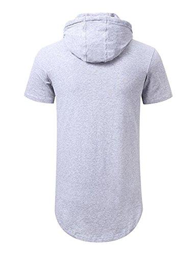 ... AIYINO Herren Kurzarm Langarm Hoodie T-Shirt 100% Baumwolle  Kapuzenshirt Hellgrau e9cdb73377