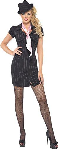 Smiffys, Damen Gangster Lady Kostüm, Nadelstreifen-Kleid und Halstuch, Größe: S, 30457 (Mafia Gangster Halloween Kostüme)