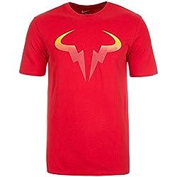 Nike Rafa Pop Tee - Camiseta de manga corta de la línea Rafa Nadal para hombre, color rojo, talla 2XL
