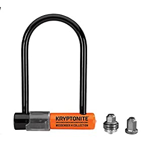 Kryptonite Messenger Mini Bicicleta U-Lock Total Paquete W/wheelnutz, Unisex, Messenger M9, Negro/Naranja, n/a