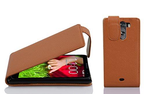 Cadorabo Hülle für LG G2 Mini Hülle in Cognac braun Handyhülle aus Strukturiertem Kunstleder im Flip Design Case Cover Schutzhülle Etui Tasche Cognac-Braun