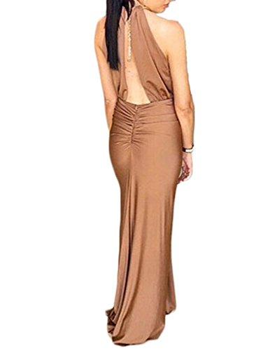 JOLLYCHIC femmes sans manches et dos uni plissé formelle Maxi robe avec ourlet Marron - Camel