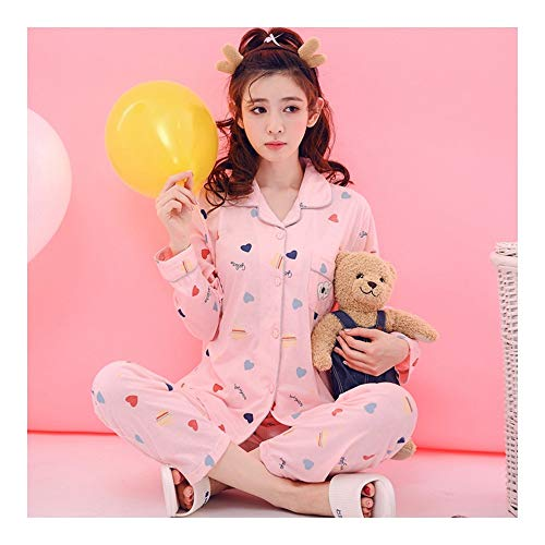 Haoliequan pigiama da donna primavera in cotone a maniche lunghe in cotone da donna set pigiama di cartone animato pigiameria per ragazze pigiama casual da casa, m