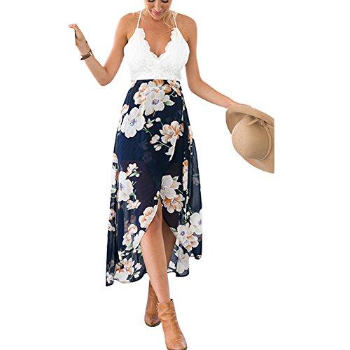 hrgang Blumen Drucken Halfter-Ausschnitt Zurück Kreuz Strand Langes Kleid, S (Flapper-kleid Im Store)