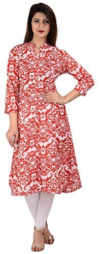 KAILANG INDO Women's Cotton Achkan Kurta (KIA0118L10004--XXL, Red and White, XX-Large)