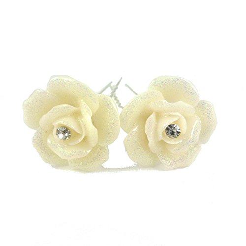 rougecaramel - Accessoires cheveux - Epingle chignon fleur et cristal 2pcs - ivoire