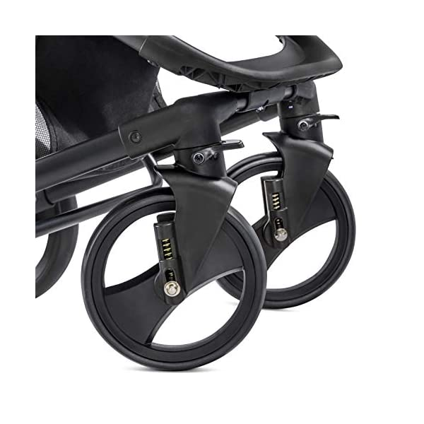 Hauck Pacific 4 Shop N Drive, Lightweight Pushchair Set with Group 0 Car Seat, Carrycot Convertible to Reversible Seat, Footmuff, Large Wheels, From Birth to 25 kg, Melange Charcoal Hauck  28