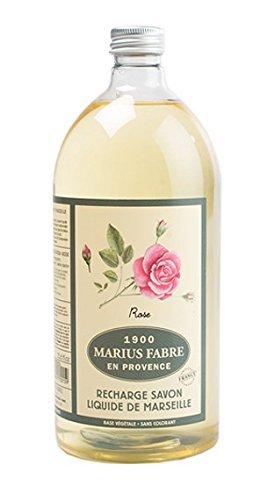 Marius Fabre Olivenöl-Seife Duftnote Rose 1L Nachfüllflsche Flüssigseife Serie HERBIER (Antimikrobielle Seife)