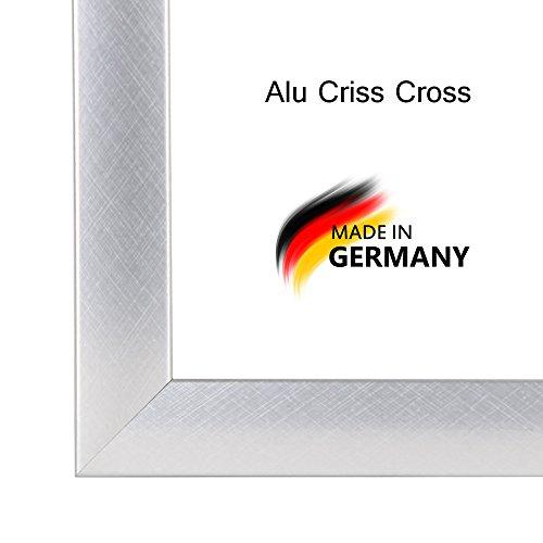 Bilderrahmen PN35 18x32 cm in ALU GEBÜRSTET (ALU CRISS CROSS) AntiReflex Kunstglas und Rückwand, 35 mm breite MDF-Leiste mit Dekor Folienummantelung (Apollo 18-poster)