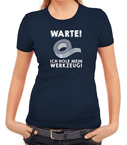 Techniker Damen T-Shirt mit Warte ich hole mein Werkzeug Motiv von ShirtStreet Dunkelblau