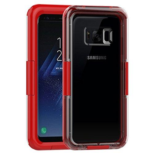 Samsung Galaxy S8 Waserdicht Hülle [Happon] Ultra Slim [IP68 Zertifiziert Wasserdicht] Stoßfest Stubdichtes Snowproof Handyhülle Kratzfestes Gehäuse Outdoor Handy Schutzhülle Unterwasser Cover Tasche Case für Samsung Galaxy S8 (Rot)