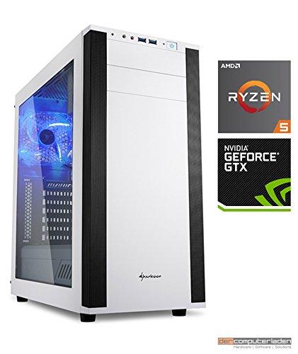 Gamer PC System AMD, 5-1600 (Ryzen) 6x3,2 GHz, 8GB RAM, 1000GB HDD, nVidia GTX1070 -8GB, Windows 10 (Testversion) Gaming Computer Büro Multimedia dercomputerladen M25W