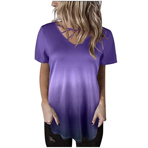 T-shirt Damen Mode Kurzarm Pullover Sexy Gradient Bluse Kreuzgurt Shirts Oberteile Freizeit Tops Lose Kreuz Tunika Bluse Sport ShirtABsoar -