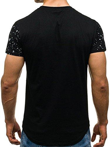 BOLF Herren T-Shirt Tee Kurzarm Slim Fit Rundhals Basic Classic Party 3C3 Motiv Schwarz