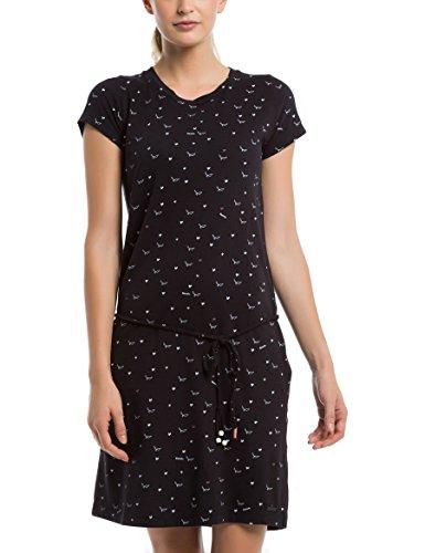 Bench Damen Kleid Printed Jersey Dress, Schwarz (Bird and Heart Minimal with Pop. P1463), Medium (Herstellergröße: M)