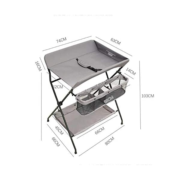Baby Changing Table Baby Storage Bath Tub Unit Station Dresser Foldable Cross Leg Style AA-SS-Baby Changing Table 【Two in One Design】This baby changing table can be used as baby massaging table as 【Stable Construction】Non-skid feet covers and a sturdy frame keep the table stable and prevent movement. 【Waterproof Material】The surface of the top table is made of durable and wearable Oxford cloth and it can be used for a long period. 7