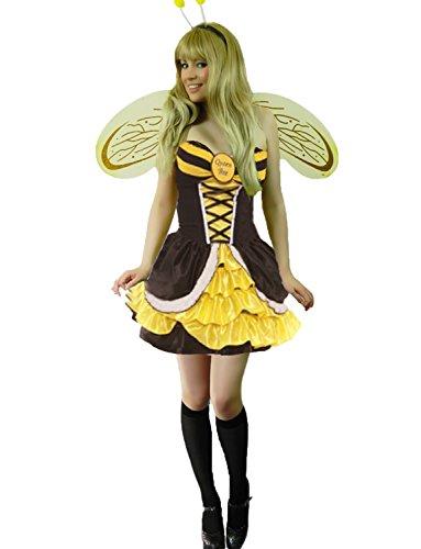 Kinder Bee Queen Kostüm - Yummy Bee - Bienenkönigin Hummelbienen + Strümpfe Flügel Karneval Fasching Kostüm Damen Größe 34-48 (36/38)