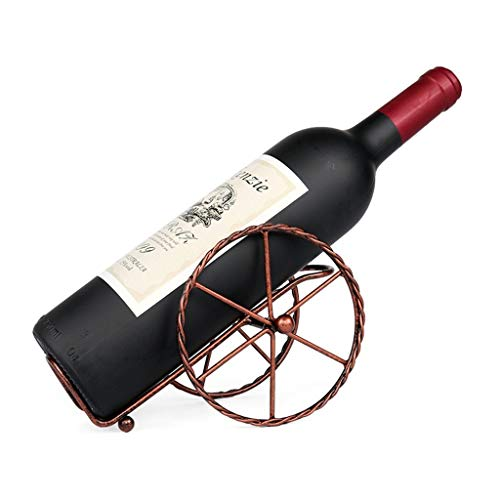 WJSWJJ Moderner minimalistischer Weinregal-Dekoration-Hauptwein-Flaschen-Halter-kreative europäische Art-Metalleisen-Rad-beweglicher Wein-Kabinett - Schwarzes und Bronze (Farbe: Bronze) - Schwarz Wein-kabinett
