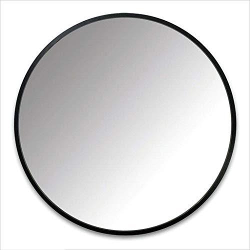 Spiegel - Runder an der Wand befestigter Badezimmerspiegel, Hauptmetallrahmenspiegel, nordischer unbedeutender Stil (Farbe : SCHWARZ, größe : 60cm)